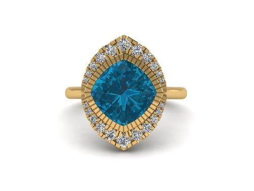 14k gold Cushion london blue topaz fashion ring MR4547
