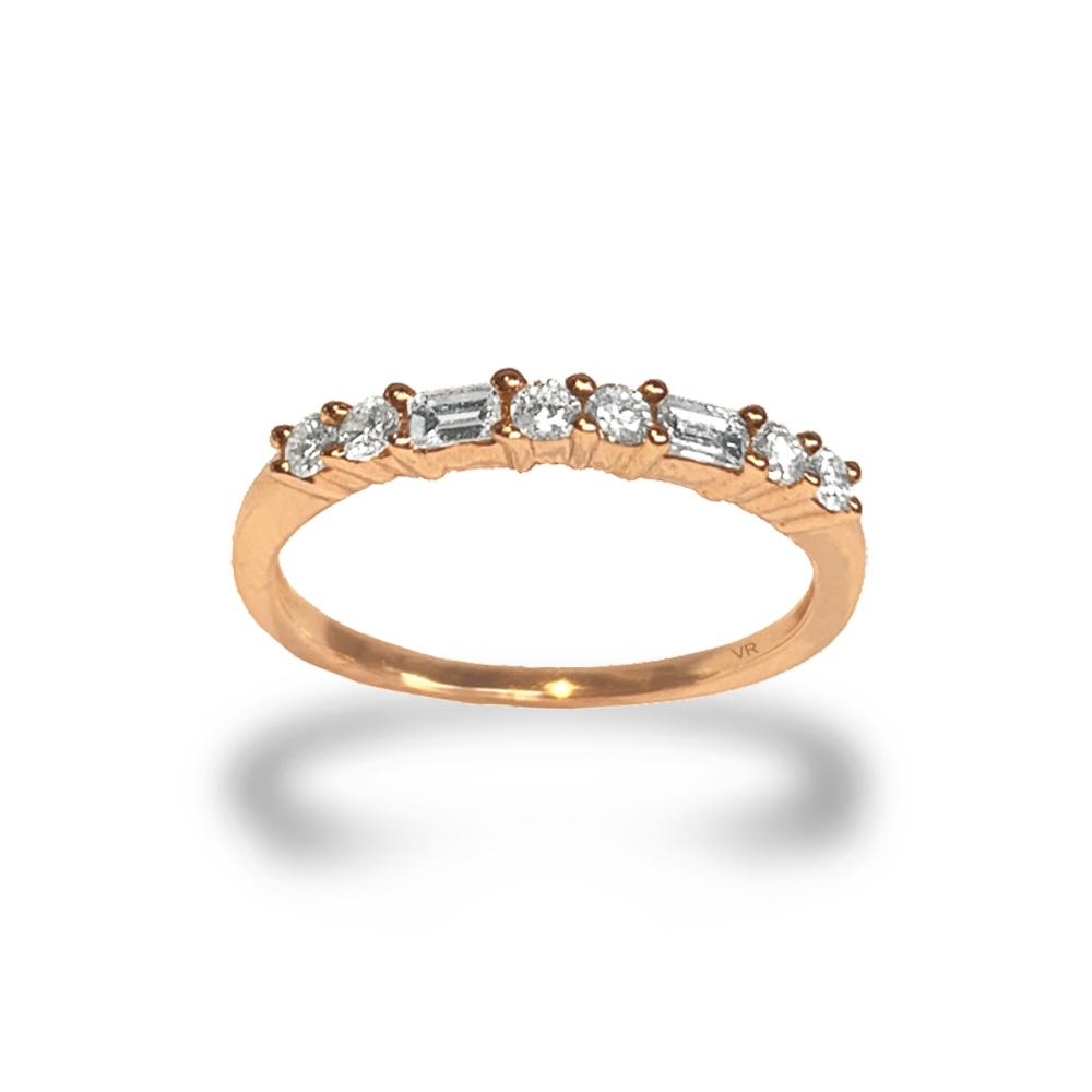 14k gold diamond baguette and round wedding band SR33456