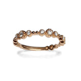 14k delicate beaded gold diamond fashion band Stack Ring SR45043