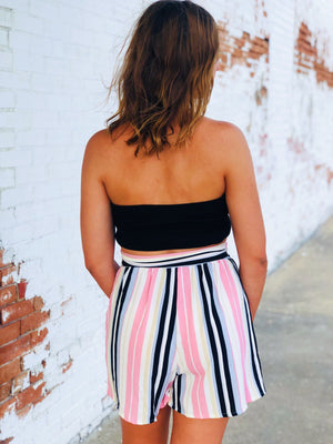 Multi Stripe High Waisted Shorts