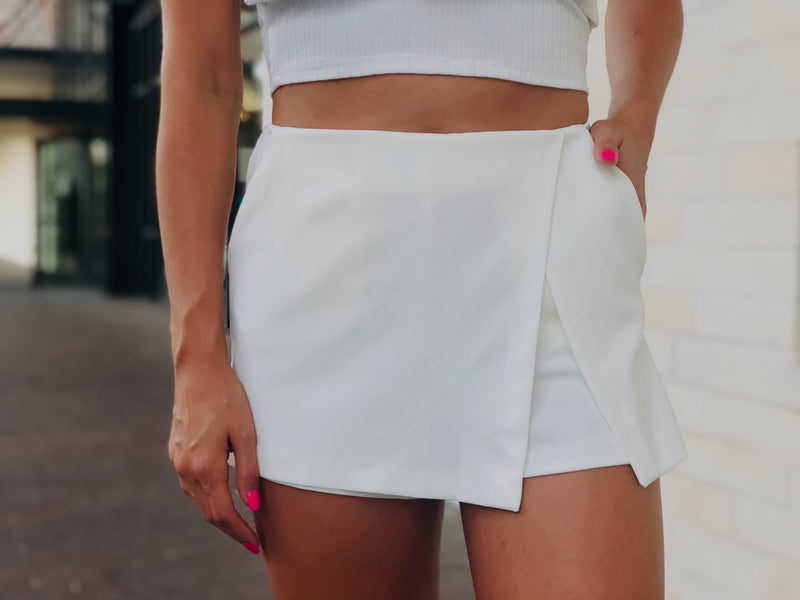 White Side Slit Skort