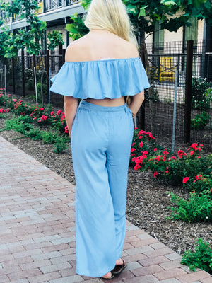 Sky Blue Two Piece Pant Set
