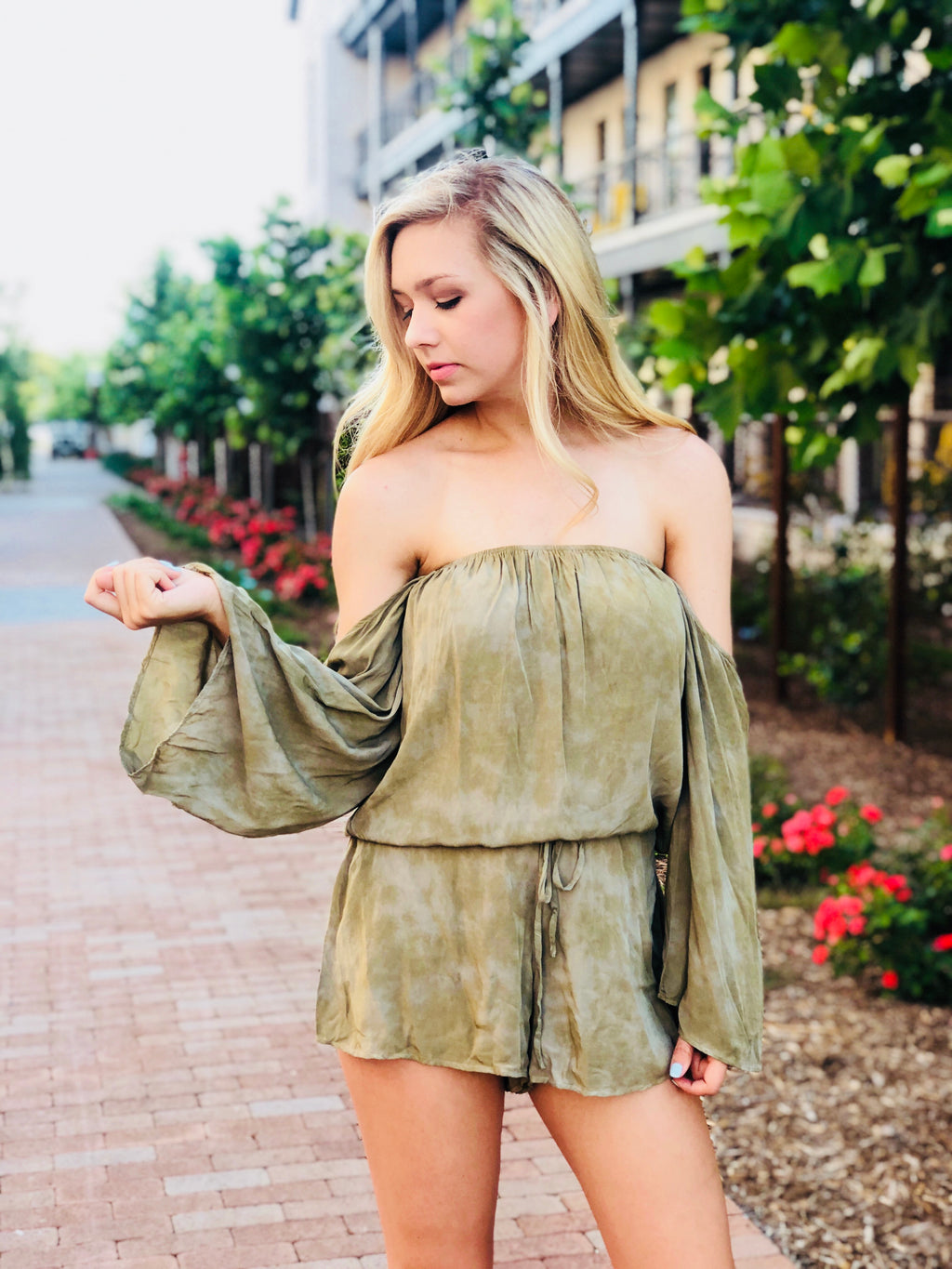 Olive Bell Sleeve Romper