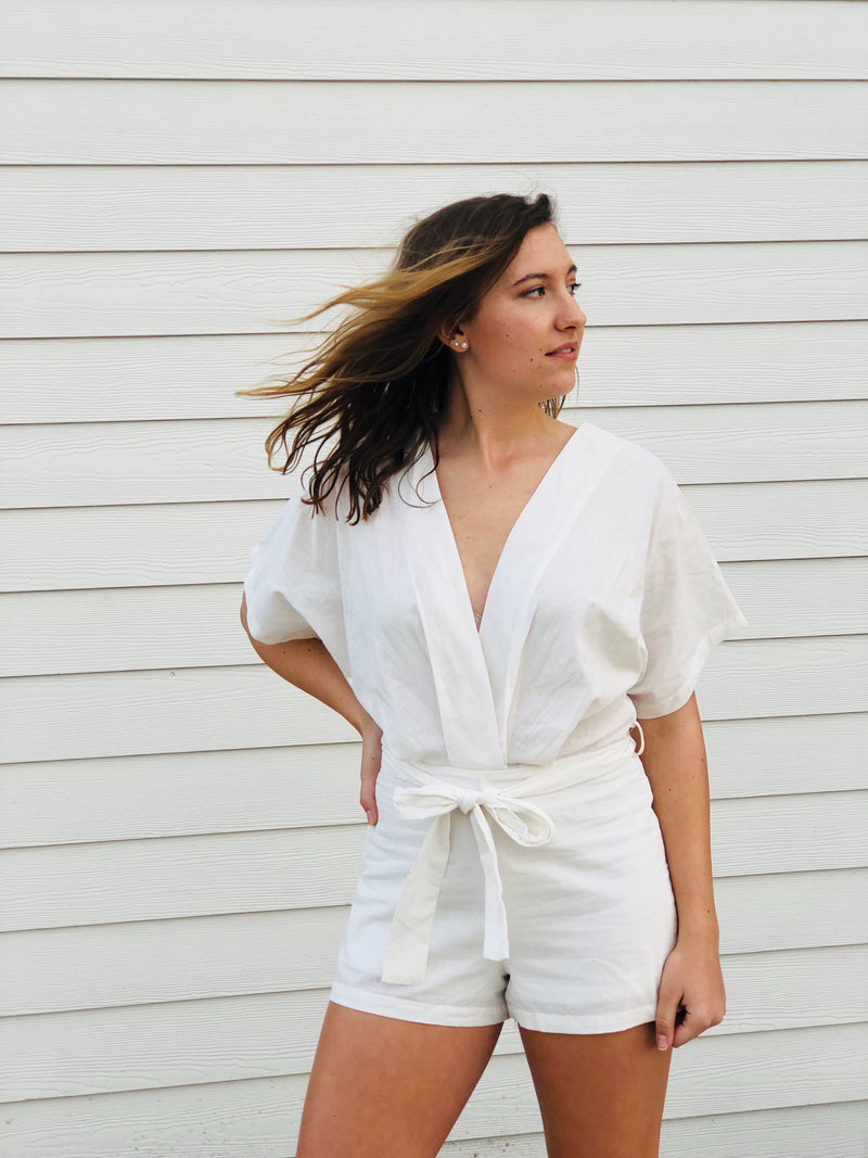 The Iris Romper - White