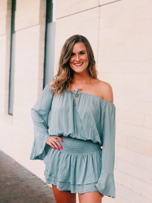 Dusty Teal Romper Dress