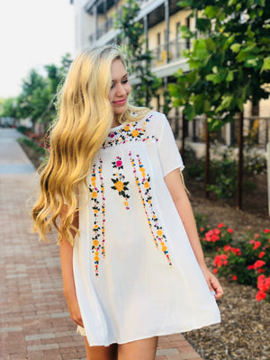 Floral Embroidered A-Line Tee Dress