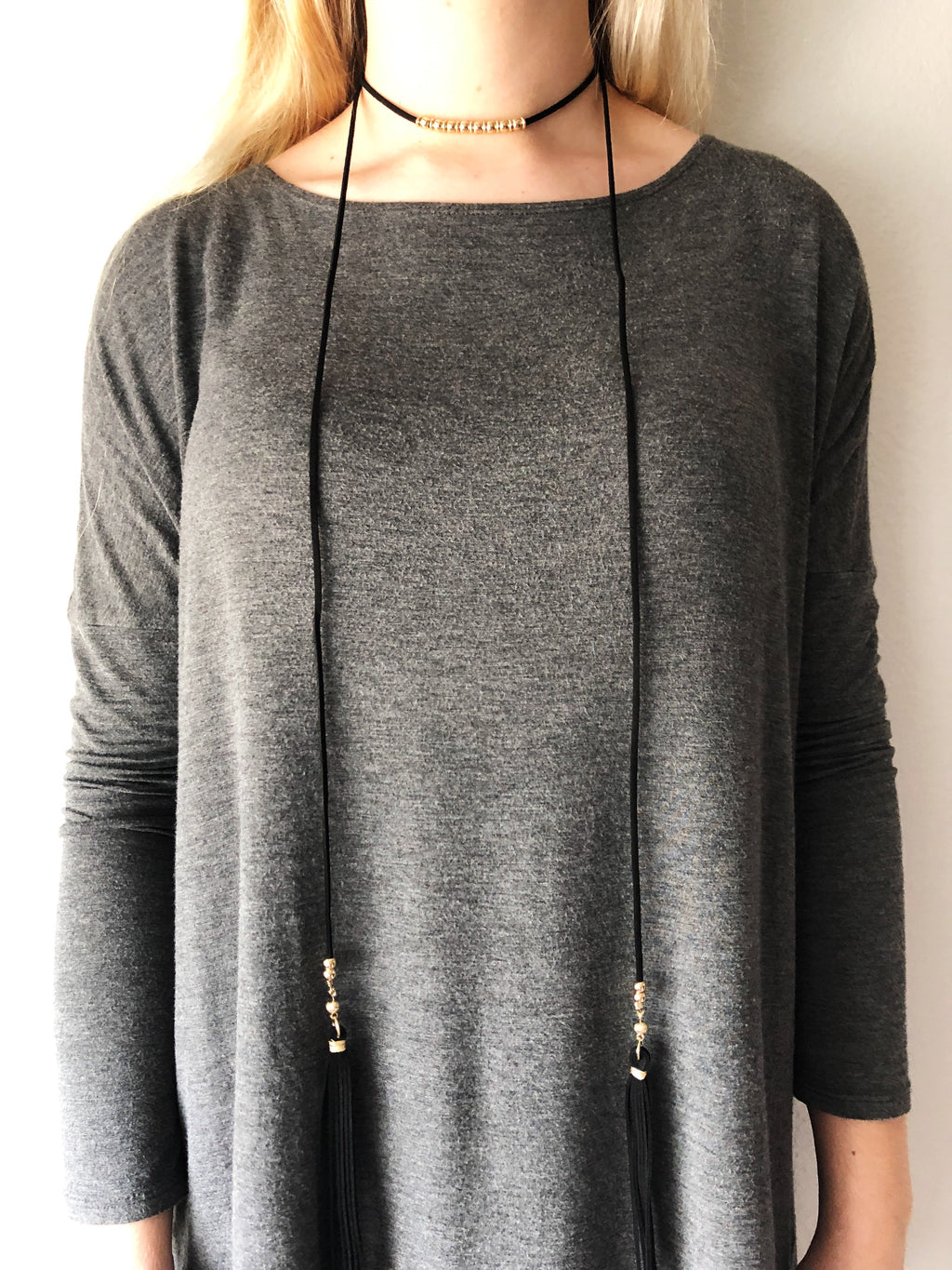 Black Tassel Wrap Up Choker