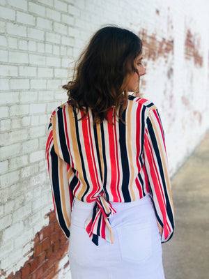 Multi Stripe Back Tie Top