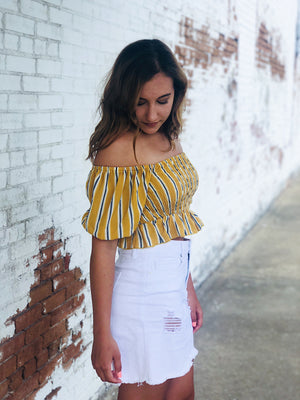 Mustard Striped Smocked Top