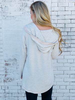Ivory Oversized Lace Up Hoodie