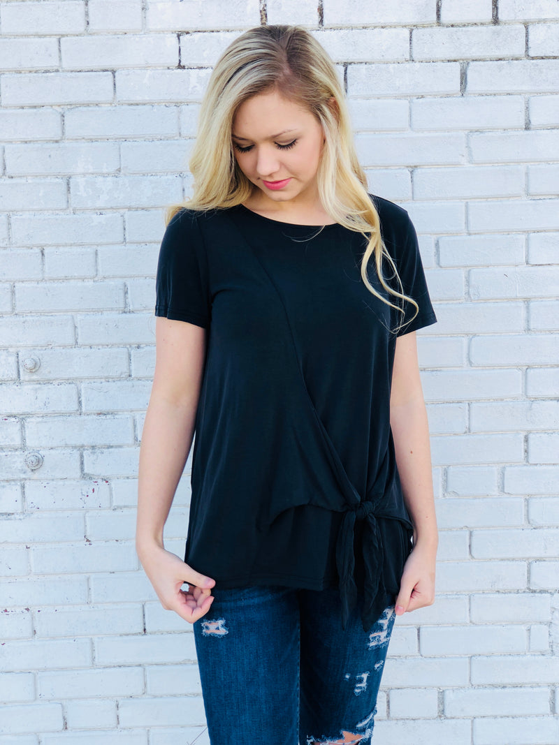 Side Tie Black Top