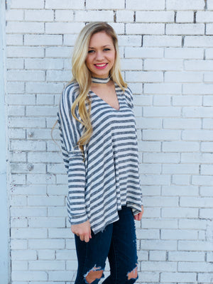 Stripe Choker Neck Top