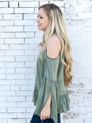 Olive Satin Open Shoulder Top