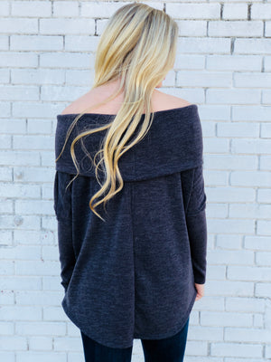 Mocha Grey Off The Shoulder Top
