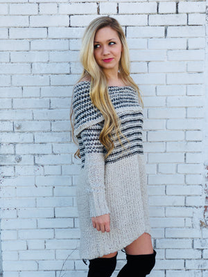 Off The Shoulder Knit Sweater Tunic