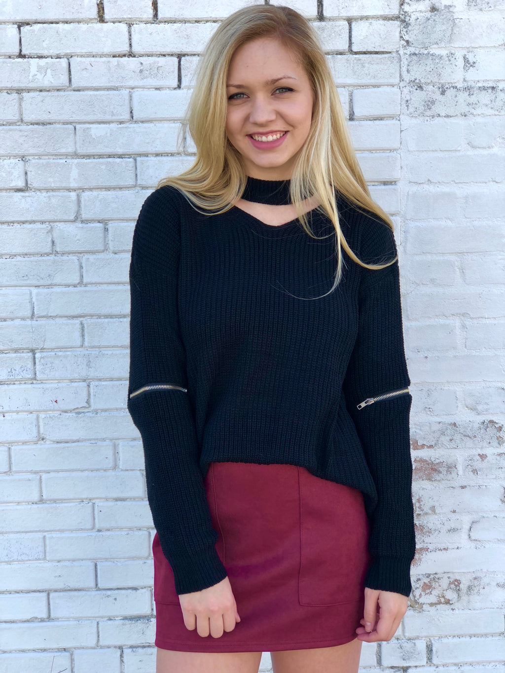Mock Neck Sweater With Zippers