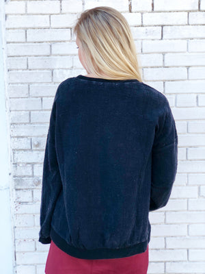 Black Mineral Wash Distressed Crew Top