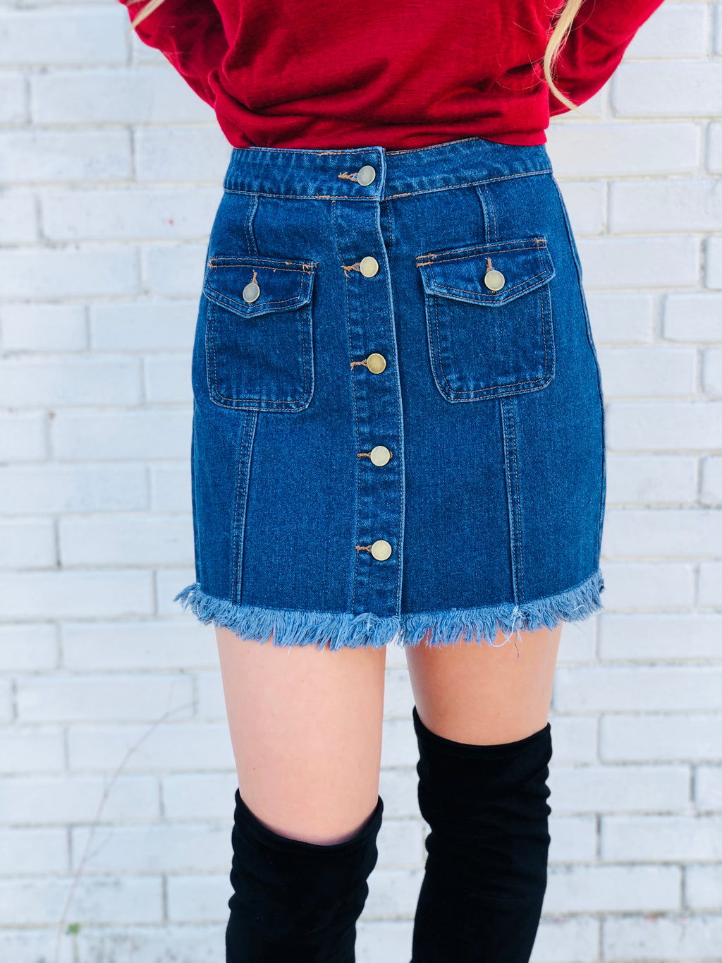 Button Up Denim Frayed Skirt
