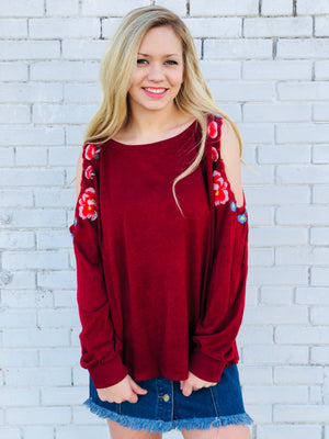 Floral Embroidered Open Shoulder Top