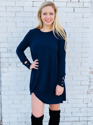 Long Sleeve Navy Dress