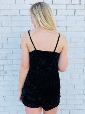Night Out Black Velvet Romper