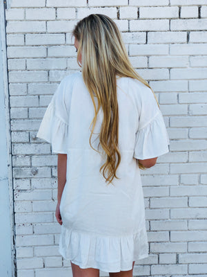 Ivory Ruffle Boho Dress
