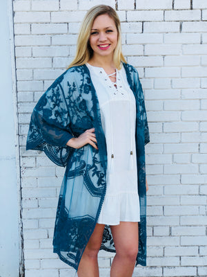 Teal Lace Duster