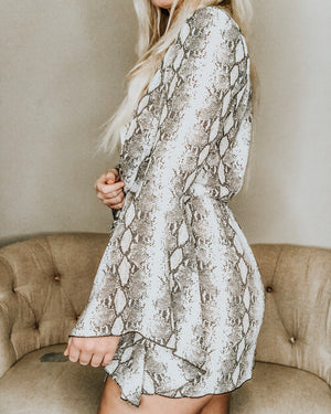 Snake Skin Twisted Knot Bell Sleeve Dress