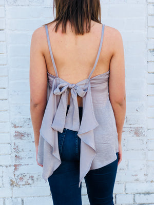 Tie Back Satin Sleeveless Top