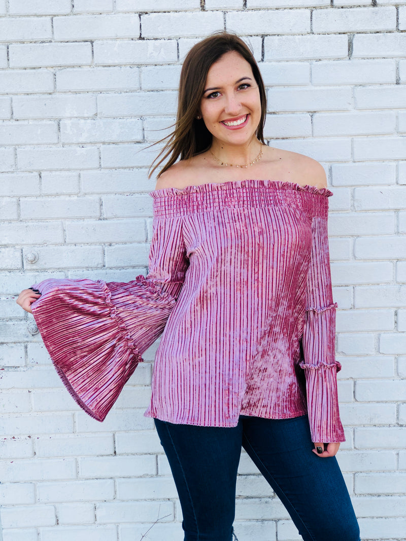 Off The Shoulder Bell Sleeve Velvet Top