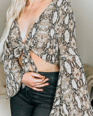 Snakeskin Cropped Tie Top