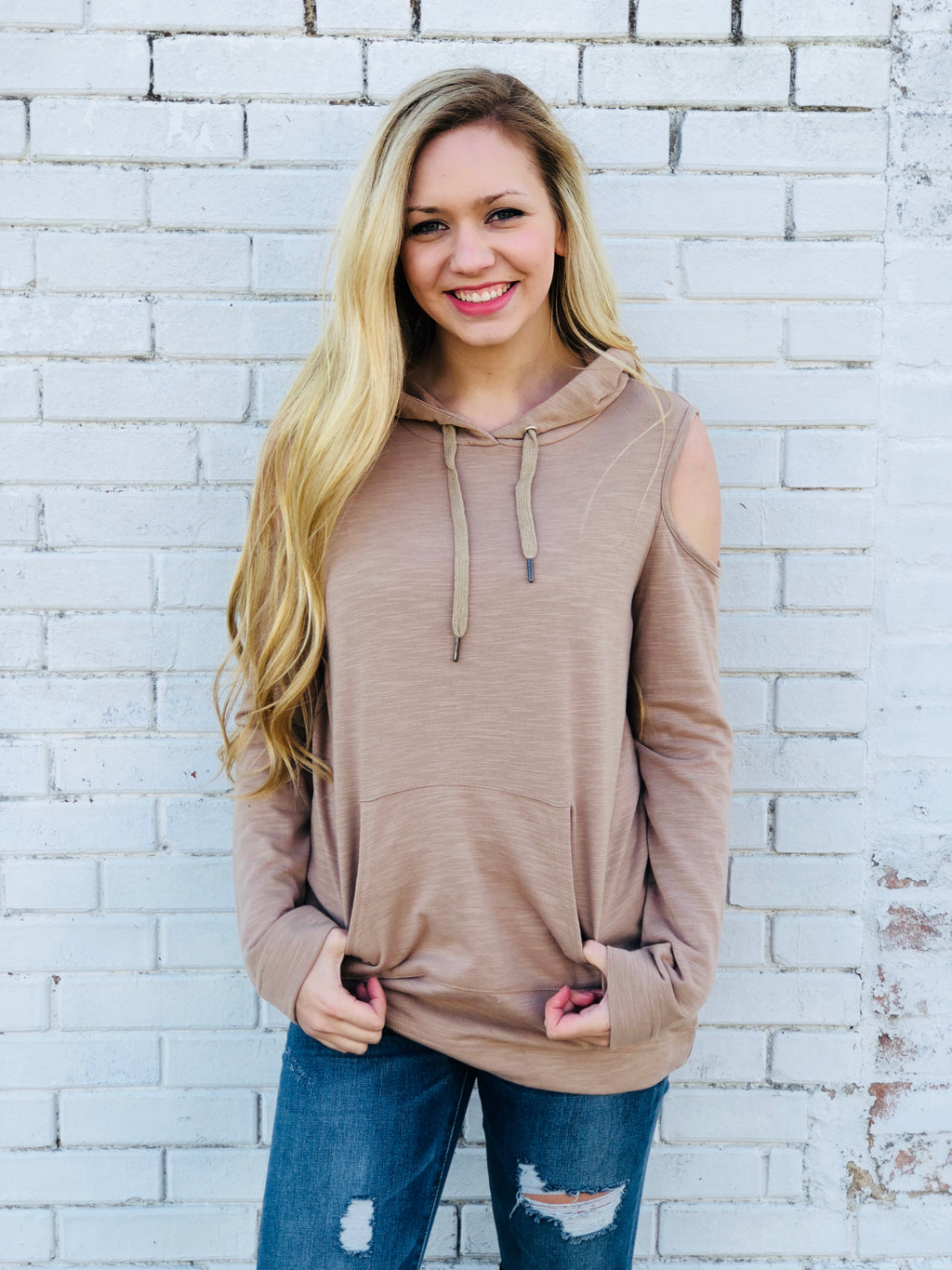 Taupe Open Shoulder Pull Over Sweatshirt