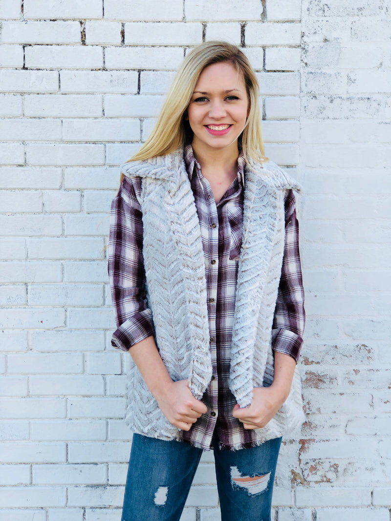 Light Gray Faux Fur Vest