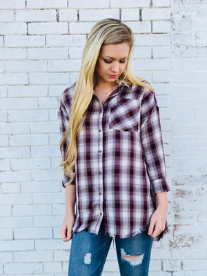 Frayed Hem Plaid Button Up Top - Burgundy