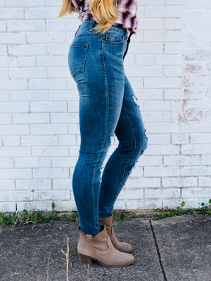 Evelyn High-Waisted Ripped Skinny Jeans