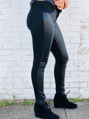 Black Faux Leather Panel Pants