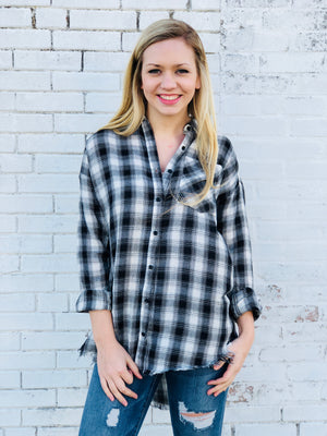 Frayed Hem Plaid Button Up Top - Black