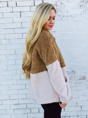 Color Block Fuzzy Pull Over Sweater