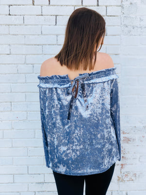 Off The Shoulder Velvet Top - Melania Blue