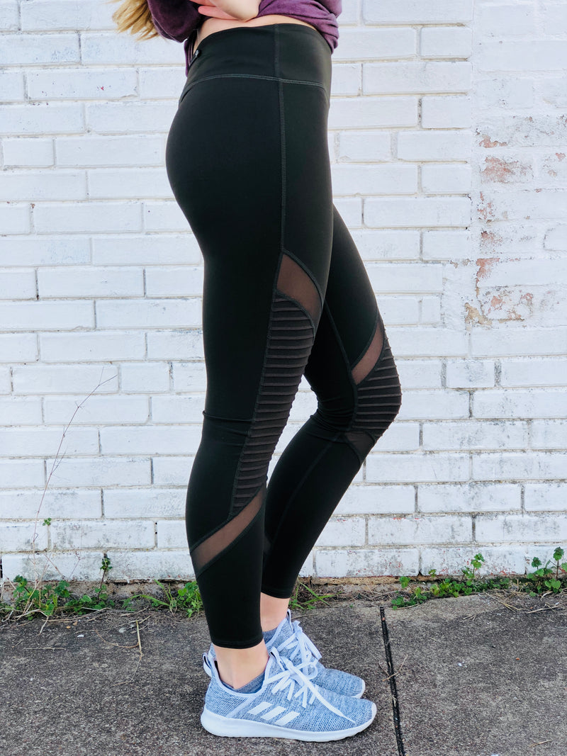 Olive Green Mesh Leggings