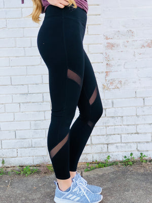 Black Mesh Athletic Leggings