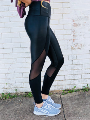 Leather Mesh Leggings