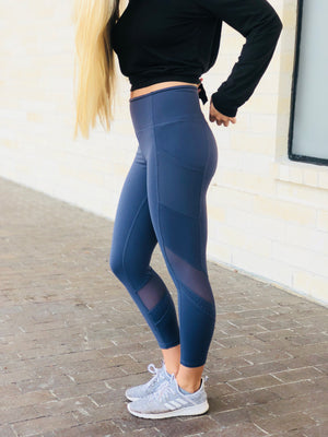 Dot Mesh Leggings - Blue