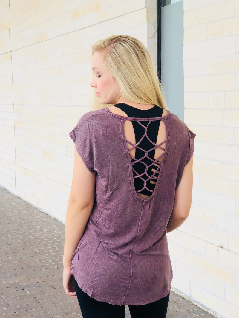 Lattice Strap Back Mineral Wash Blouse - Orchid