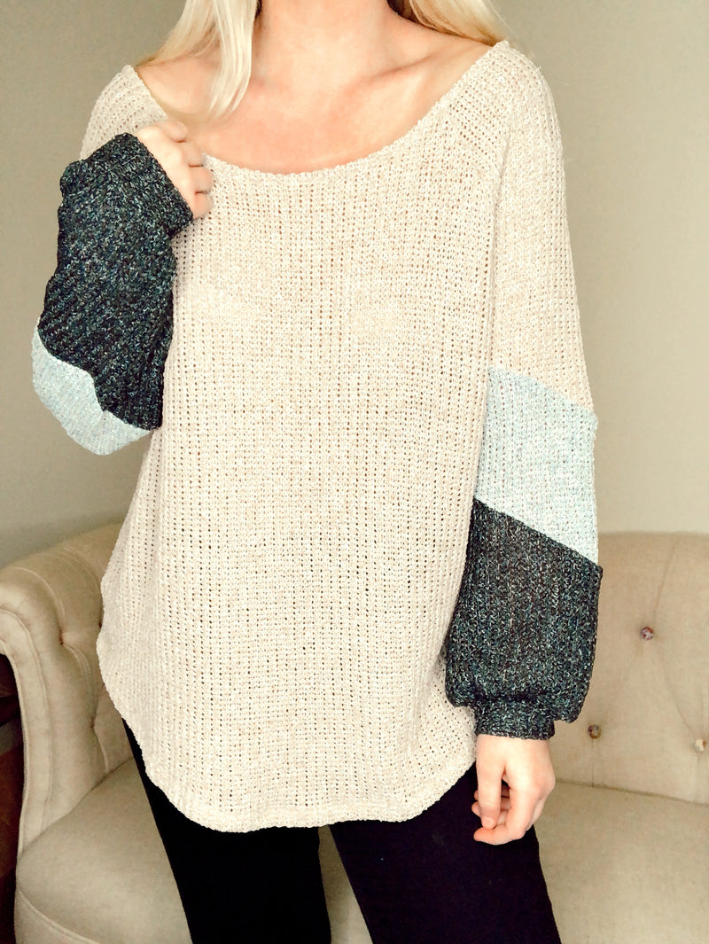 Oatmeal Block Sleeve Sweater