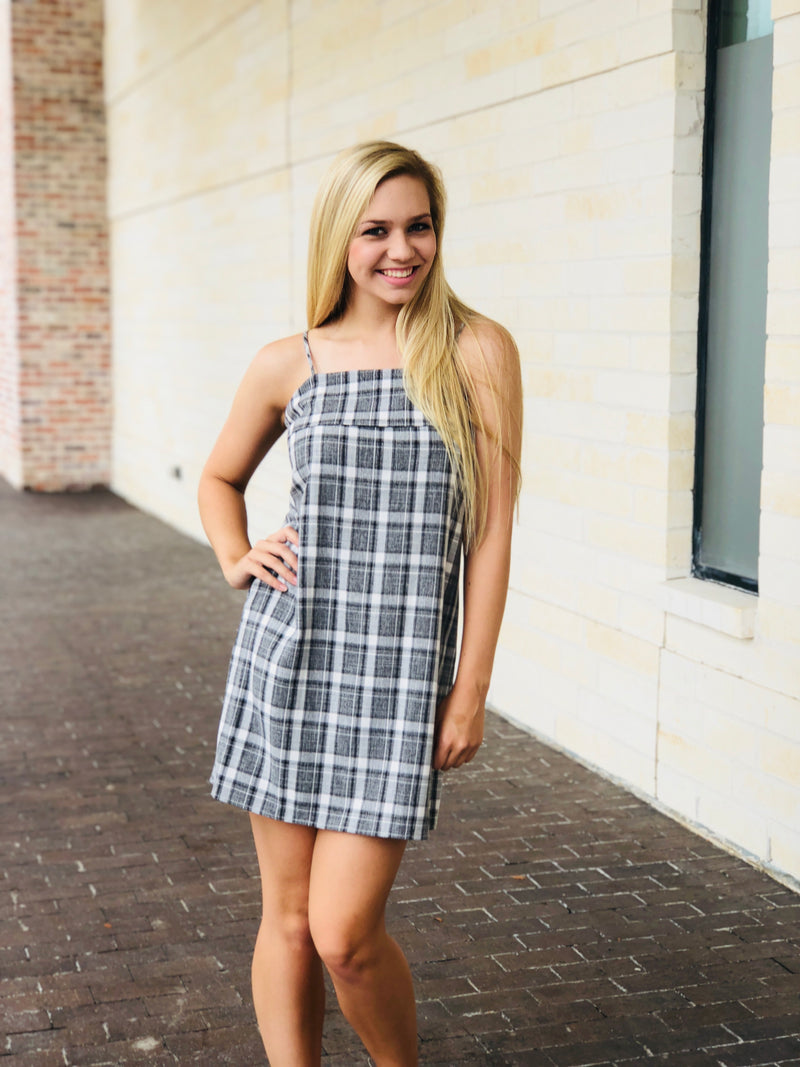 Plaid Tie Back Dress