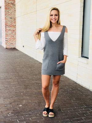 Heather Gray Pocket Sweater Dress