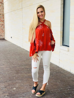 Floral Embroirdered Cold Shoulder Top - Rust