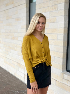 Thermal Knit Button Up Top - Mustard