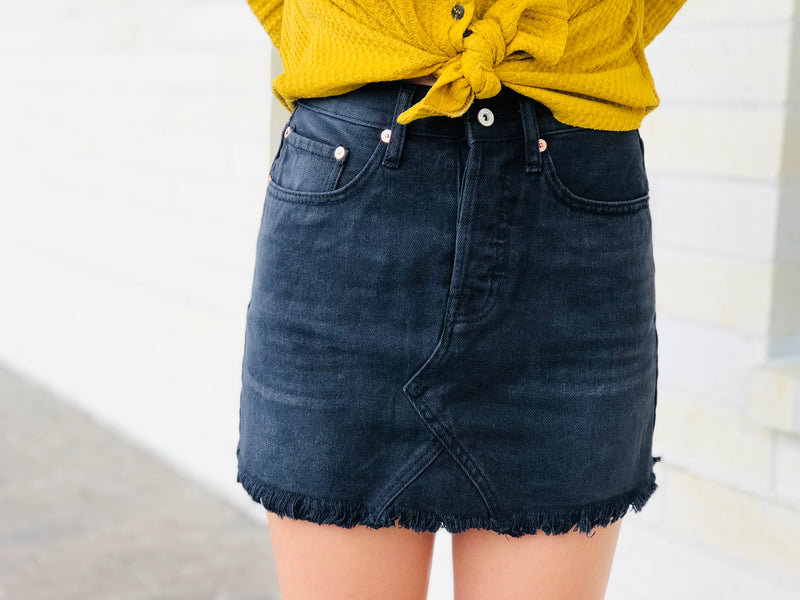 Dark Denim Mini Skirt with Frayed Hem
